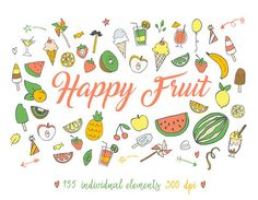 Happy fruit Clip art summer fruit clipart Tropical fruit
