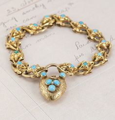Victorian Turquoise and Gold Heart Padlock Bracelet, $3,200.00