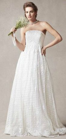 Melissa Sweet Strapless A Line Organza Gown with Empire Waist Style MS251077 #davidsbridal #weddingdress #bohochic