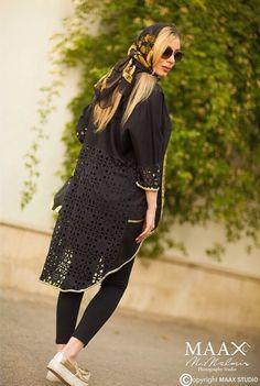 Iran-tehran fashion ... Cardigan Fashion, Abaya Fashion, Women In Iran, Girl Fashion, Womens Fashion, Fashion Design, Persian Girls, Iranian Women Fashion, How To Wear Scarves
