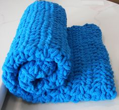 Royal Blue Baby Blanket ThickSquishySoft by dcoycrochetsforyou, $35.00