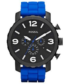 Fossil Watch, Men's Chronograph Nate Blue Silicone Strap 50mm JR1426 - First @ Macy's! - All Watches - Jewelry & Watches - Macy's