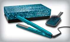 GHD Jewel Collection Gold Flat Iron in Sapphire American Crew, Revlon, Styler Ghd, Hair Styler, Chi Hair Straightener, Chi Hair Products, Beauty Products, Ghd Hair, Asos