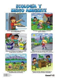 Lámina atractiva para enseñar a los niños a cuidar el Medio Ambiente