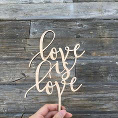 "Love is Love Wedding Cake Topper 5.5"" inches 