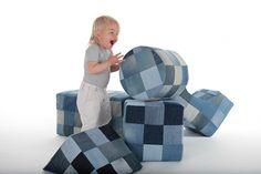 Denim Patchwork Fun Tumble Climb Sit Jean Quilt Blocks - BluBloxx