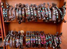 Madcow Company spur ideas, top row, third from the left, possible change in center stone. Spurs Western, Cowboy Spurs, Western Horse Tack, Boot Bling, Cowgirl Bling, Cowgirl Style, Cowgirl Jewelry, Barrel Saddle, Barrel Racing Horses