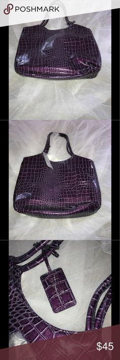 🌹Final Drop🌹Neiman Marcus Purple Tote Gorgeous crocodile embossed Tote,has a spacious inside cloth lining, Neiman Marcus Bags Totes