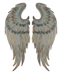 Set of 2 Assorted Antique Style Arctic Blue and Gold Patina Angel Wings Wall Decor Wing Wall, Wall Décor, Angel Wings Wall Decor, European Decor, Metal Wings, Wall Decor Set, Iron Wall, Wall Sculptures, Sculpture Ideas