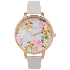 Olivia Burton Flower Show Floral Watch - Blush & Rose Gold (130 AUD) ❤ liked on Polyvore featuring jewelry, watches, accessories, flower watches, pink watches, rose gold watches, pink dial watches and yellow dial watches