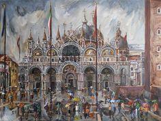"""San Marco - Sudden Rain"" by Stefano Popovski   RaySheaf on http://Shadowness.com/raysheaf #detailed #painting #art"