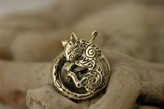 Cat kitty bronze pendant necklace fantasy