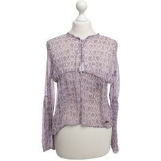 Pre-owned Silk blouse in purple (99 AUD) ❤ liked on Polyvore featuring tops, blouses, violet, purple blouse, see through tops, transparent blouse, silk tops and silk print blouse
