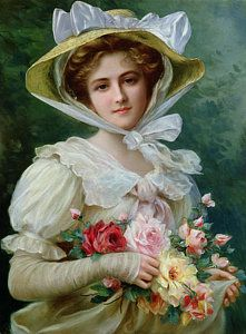 Red Flower Painting - Elegant Lady With A Bouquet Of Roses by Emile Vernon