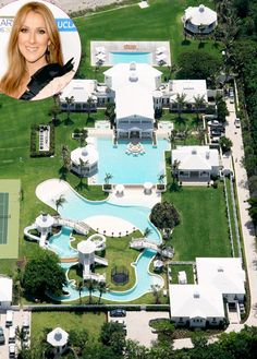Celine Dion The million mansion that Dion shares with husband Rene Angelil in Jupiter Island, Fla., has a water park any kid would envy. The backyard boasts a twisty water slide, two Olympic-sized pools and a lazy river. - Home Decorating DIY Celebrity Mansions, Celebrity Houses, Luxury Swimming Pools, Dream Pools, Dream Mansion, Dream Houses, Hollywood Homes, Rich Home, Cool Pools