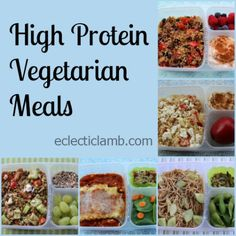 High Protein Vegetarian Meals with links to recipes High Protein Vegetarian Recipes, Quick Vegetarian Meals, Vegetarian Lunch, Veggie Recipes, Whole Food Recipes, Cooking Recipes, Healthy Recipes, Vegan Meals, Meatless Recipes