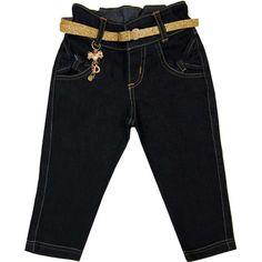 Calça Jeans Infantil Feminina com Cinto - Mimozinha :: 764 Kids   Roupa bebê e infantil