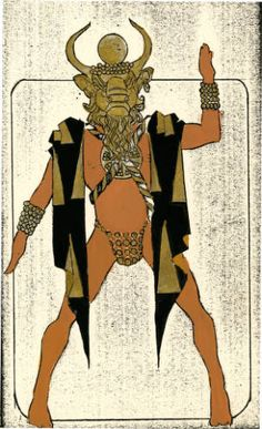 Costume design drawing, male dancer in mask, facing front, Las Vegas ...