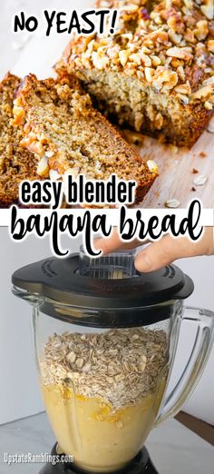 This hearty banana bread recipe makes a moist and oaty bread which is super easy to make. There are five pantry basic ingredients. Oatmeal Banana Bread, Flours Banana Bread, Gluten Free Banana Bread, Healthy Banana Bread, Baked Banana, Banana Recipes Blender, Banana Recipes No Flour, Ripe Banana Recipes Healthy, Recipe Using Ripe Bananas