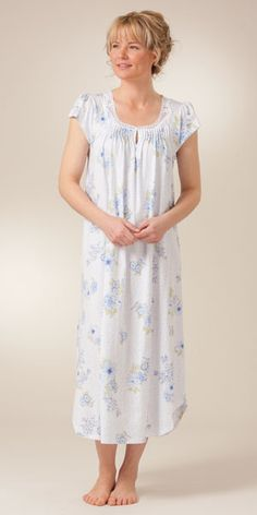 Cap Sleeve Carole Hochman Cotton Knit Nightgown - Moonlit Garden