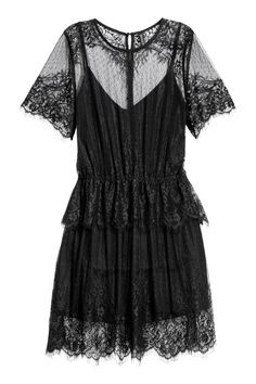 Check this out! Short lace dress with buttons at back and an elasticized seam at waist with wide ruffle trim. Short, scallop-edged sleeves, scalloped hem, and jersey liner dress. - Visit hm.com to see more.