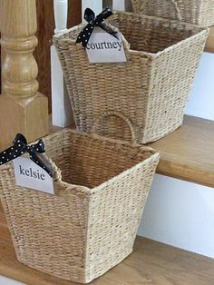 Crap Baskets.  Every family member has a basket with their name on it.  Crap that's picked up around the house is tossed in the Crap Basket.  There's also a tutorial for making a staircase gate.  This blog is awesome.