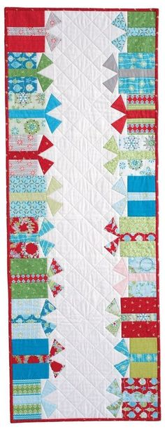 Quilt Kit and Backing Christmas Gift holiday table runner with Jen Daly's design of rows of gift boxes, foundation and patch pieced.Christmas Gift holiday table runner with Jen Daly's design of rows of gift boxes, foundation and patch pieced. Patchwork Table Runner, Table Runner And Placemats, Table Runner Pattern, Quilted Table Runners, Christmas Runner, Noel Christmas, Christmas Crafts, Christmas Quilting Projects, Christmas Table Runners