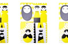 Oma perhe, yellow, sandwich server 12 x 18 cm Kitchen Accessories, My Family, Sandwich Boards, Sandwiches, Kids Rugs, Yellow, Illustration, Pattern, Design