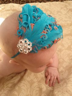 Turquiose and Coral Nagori Curly Goose Headband with Rhinestones/Photo Prop. $11.95, via Etsy.