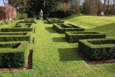 Outside the drawing room, a parterre has been planted where there was once plain lawn. However, instead of enclosing roses and perennials, the rectangles of box surround more box. It looks like a David Hicks carpet but instead of wool, it's made of shrub.
