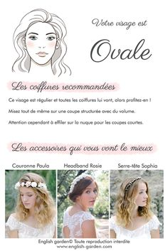 Conseils astuces coiffure Visage ovale   #wedding #hair #hairaccessories #beauty