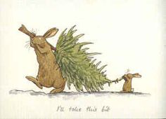 """I will take this bit Christmas card. Gifts and Greeting cards for rabbit lovers, mugs and cards. Anita Jeram illustrated """"Guess How Much I Love You"""" Christmas Illustration, Cute Illustration, Animal Drawings, Cute Drawings, Anita Jeram, Rabbit Art, Bunny Art, Pics Art, Watercolor Cards"""