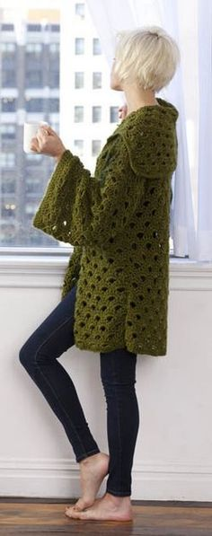 Moss green knitted cardigan with kimono sleeves