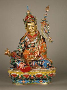 Padmasambhava | Nepal, copper; painted with oil paint. 12 inches. Cast by Siddhi Raj Shakya, engraved by Bhim Shakya