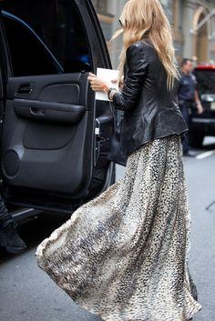 Long skirt and leather jacket...always stylish...