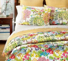 My bedding - Pottery Barn Woodland Organic, so colorful!