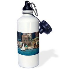 3dRose USA, Massachusetts. Boston waterfront skyline with sailboats., Sports Water Bottle, 21oz