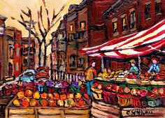 Farmer's Market Autumn In The City Canadian Paintings Best ...