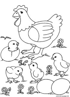 Print chicks and chicken farm animal s8fdb coloring pages