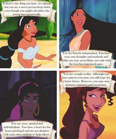 What your favorite Disney female says about you! Jasmine (Aladdin), Pocahontas (Pocahontas), Esmeralda (The Hunchback of Notre Dome), Megara (Meg(Hercules)) Disney Nerd, Disney Girls, Disney Love, Disney Magic, Disney Stuff, Punk Disney, Disney And Dreamworks, Disney Pixar, Walt Disney
