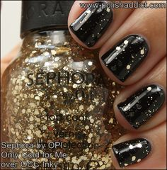 Sephora by OPI Only Gold for Me over OCC Inky (Inky is a stainer, so I'd just use WnW Black Creme for the same effect)