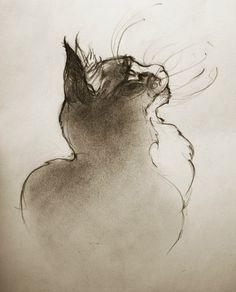 Quand la ligne s'emballe et danse avec l'encre...miaou Peint par Anna Ergova