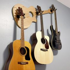 """The Wall-Axe CSV-Series """"Blondie"""" displays 3 of your beloved guitars. Perfect centerpiece for any music or living room, and gift for the guitarist who has everything!"""