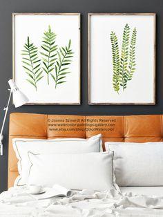 Farn Drucken grün botanische Kunst. Satz von 2 Farne. Frauen-Aquarell…