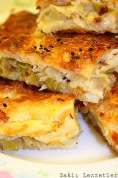 Pırasalı Börek Sağlıklı yemekler – The Most Practical and Easy Recipes Turkish Recipes, Ethnic Recipes, Pastry Cake, Spanakopita, Lasagna, Quiche, Food And Drink, Appetizers, Cooking Recipes