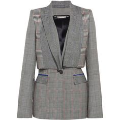 Alexander McQueen Prince of Wales checked wool blazer (45.643.515 IDR) ❤ liked on Polyvore featuring outerwear, jackets, blazers, grey, blue wool blazer, blue wool jacket, pocket jacket, checked blazer and wool blazer