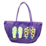 Flip Flop Printed Canvas Beach Bag Tote with Zipper Closure (PURPLE)
