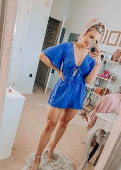 Flutter sleeve woven romper with front tie detailFirst picture, wearing a mediumModel in second picture is wearing a size small Fashion Group, Only Fashion, Girl Fashion, Fashion Outfits, Simple Summer Outfits, Cute Spring Outfits, Job Interview Attire, Lounge Outfit, Business Outfits