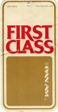 Pan Am First Class Luggage Tag (1981)