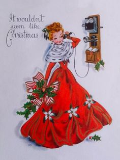 Vintage Christmas Greeting Card~Pretty Lady Old Fashioned Telephone Gold Accents | eBay